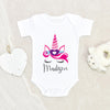 Girls Pink Unicorn Onesie® - Girls Personalized Valentine's Day Onesie® - Custom Name Unicorn Girls Onesie®