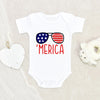 4th Of July Onesie® - Merica Glasses Baby Onesie® - Fourth Of July Baby Clothes