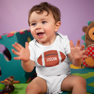 Personalized Rugby Ball Onesie - Custom Boys Onesie - Sporty Baby Onesie
