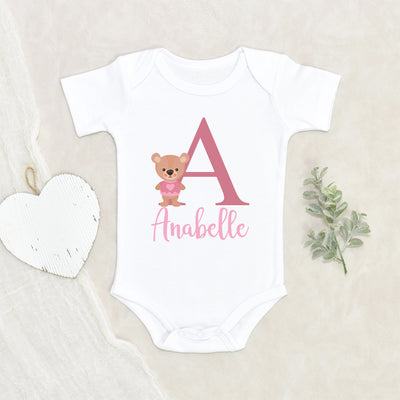 Custom Girls Baby Onesie® - Cute Bear Baby Clothes - Personalized Name Bear Onesie®
