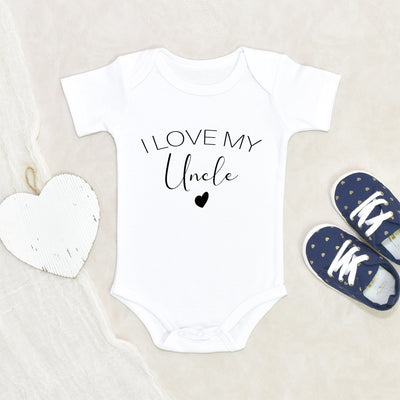 Cute I Love My Uncle Onesie - Uncle Baby Onesie - Uncle Baby Clothes