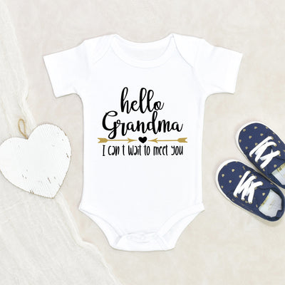 Grandma Baby Onesie® - Hello Grandma Onesie® - I Can't Wait To Meet You Onesie® - Grandma Baby Clothes