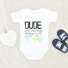 Comical Baby Boy Onesie® - Dude Your Wife Keeps Checking Me Out Onesie® - Funny Baby Clothes