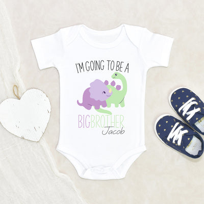 Custom Name Onesie® - Big Brother Onesie® - Dinosaur Big Brother Announcement Onesie® - Personalized Baby Onesie®