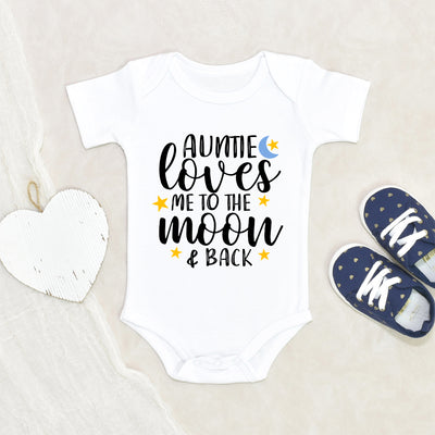 Auntie Baby Onesie - My Auntie Loves Me To The Moon And Back Onesie - Aunt Baby Clothes