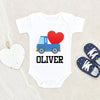 Valentine's Day Baby Clothes - Personalized Boys Name Onesie - Custom Boys Truck Onesie
