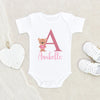 Custom Girls Baby Onesie - Cute Bear Baby Clothes - Personalized Name Bear Onesie