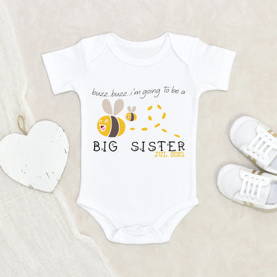 Personalized Baby Onesie® - Custom Bee Onesie® - Big Sister Onesie® - Big Sister To Bee - Pregnancy Announcement Onesie®