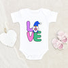Love Gnome Baby Onesie® - Cute Easter Baby Girl Onesie® - Cute Easter Baby Clothes - Cute Spring Baby Girl Onesie®