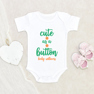 Baby Shower Gift - Hospital Baby Gift - Cute As A button Gender Neutral Onesie® - Cute Baby Gift