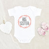 Big Sister Baby Girl Onesie® - Big Sister Baby Clothes Burnt Orange Botanical - Big Sister Onesie®