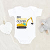 Construction Big Brother Onesie® - Big Brother Onesie® - Construction Excavator Onesie® -  Personalized Baby Onesie®