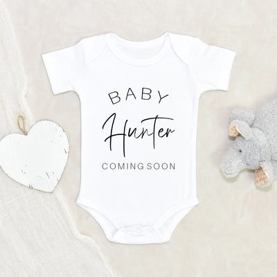 Coming Soon Baby Onesie® - Pregnancy Announcement Name Baby Clothes - Baby Name Onesie® - Personalized Announcement Onesie®