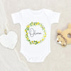 Custom Girl Name Baby Clothes - Personalized Lemon Baby Girl Onesie - Lemon Wreath Baby Girl Onesie