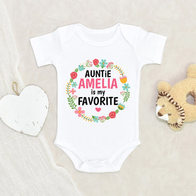 Personalized Baby Shower Gift - Auntie Baby Clothes - Floral Auntie Is My Favorite Onesie® - Personalized Onesie® - Custom Name Onesie®