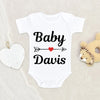 Custom Last Name Onesie - Personalized Unisex Baby Onesie - Baby Shower Gift - Lovely Baby Gift