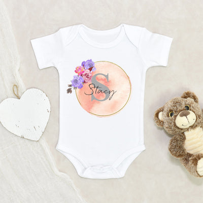 Custom Baby Onesie® Girl - Personalized Floral Baby Onesie® Girl - Baby Name Onesie® Unique Girl Clothes