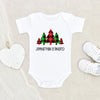 Cute Winter Clothes - Personalized Name Buffalo Plaid Tree Unisex Onesie - Personalized Holiday Baby Clothes