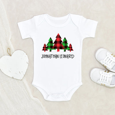 Cute Winter Clothes - Personalized Name Buffalo Plaid Tree Unisex Onesie® - Personalized Holiday Baby Clothes