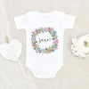 Floral Baby Girl Onesie® - Custom Girl Name Clothes - Personalized Baby Girl Onesie®