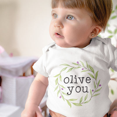 Food Pun Onesie - Cute Olive Baby Onesie - Baby Clothes - Loved Baby - Olive You Baby Onesie