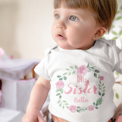 Pregnancy Reveal Onesie - Promoted Big Sister Onesie - Big Sister Onesie - Big Sister Announcement Onesie - Floral Name Onesie - Baby Shower Gift