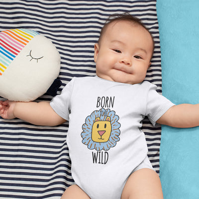 Animal Baby Onesie® - Born To Be Wild Onesie® - Lion Baby Boy Onesie® - Cute Animal Boy Onesie®