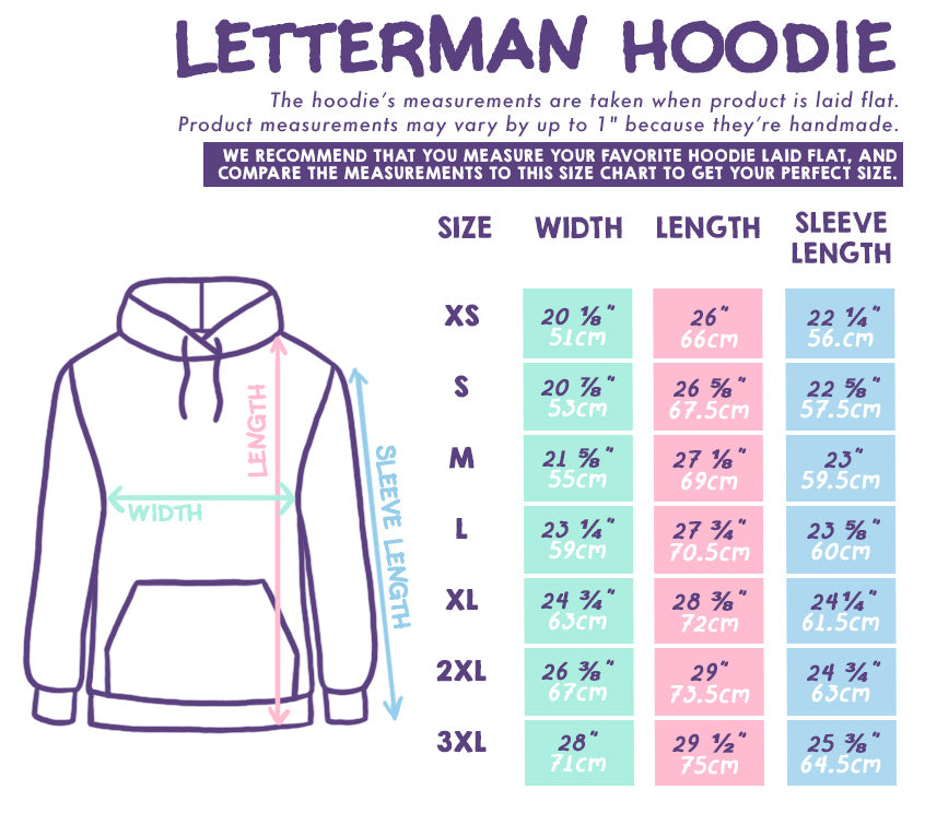 Letterman Hoodie Size Chart