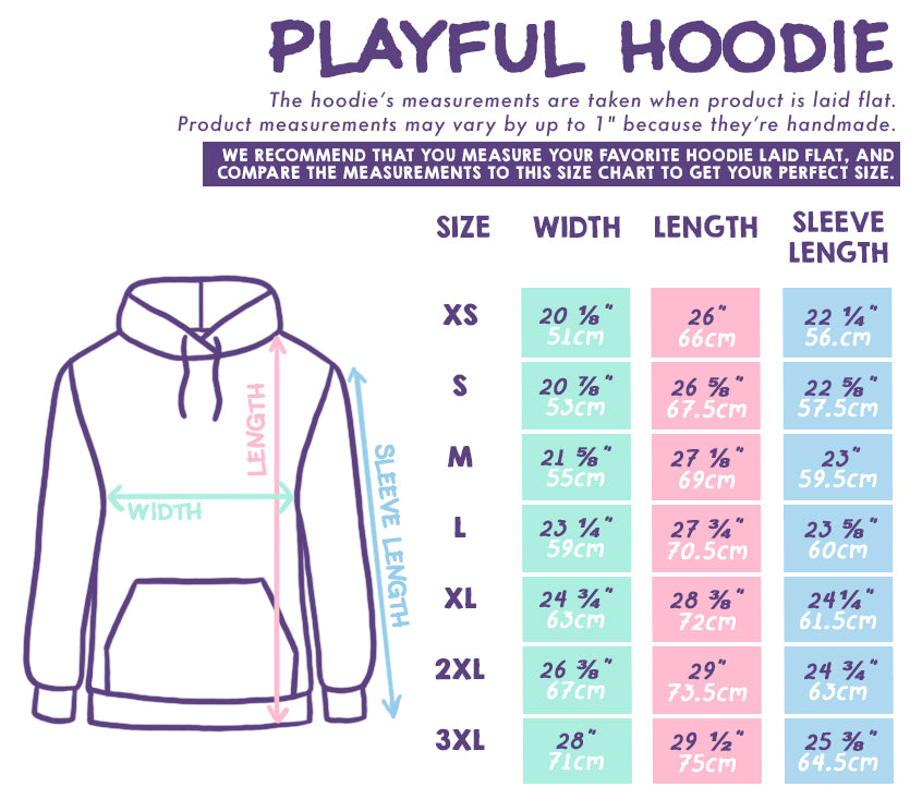 PIGLEAF Playful Hoodie Size Chart
