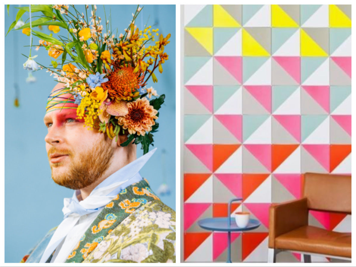 Bright Pops colour inspiration. This is a split frame image. On the left, Stephen is photographed against a blue background. He's wearing a large bright floral arrangement on his head like a fascinator. On the right is a wall covered in white, grey, yellow, blue, pink and red triangles. There is a caramel brown leather chair in front of the wall.