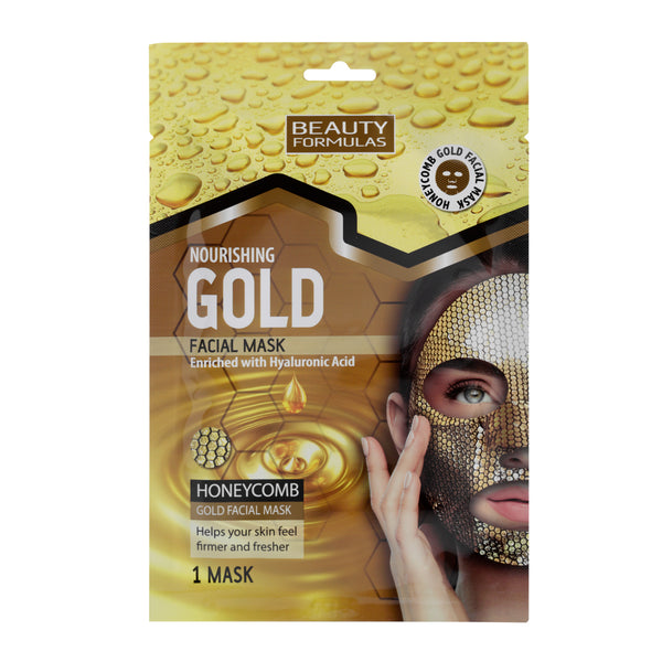 Beauty Formulas Ενυδατική μασκα Προσώπου Honeycomb Gold Facial Mask Enriched with Hyaluronic Acid