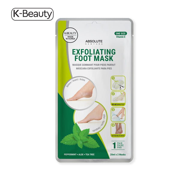 Absolute New York Peppermint + Aloe + Tea Tree Exfoliating Foot Mask - 1 Pair, 2.4 oz / 68.04 g