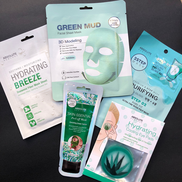 Giftset Absolute New York HYDRATING ALOE EYE PADS - HYDRATING BREEZE FACIAL MASK - ENRICHING GREEN CACTUS PEEL-OFF MASK - 3D MODELLING GREEN MUD MASK - 2STEP PURIFYING PHYTO OLIGO
