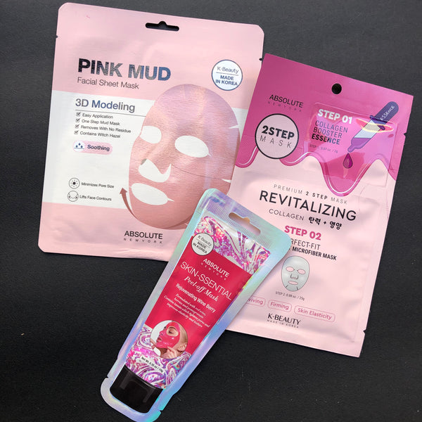 Giftset με Absolute New York Revitalizing Collagen 2Step mask - Pink Mud 3D Modelling - Rejuvenating Wine Berry Skin Ssential Peel-off mask