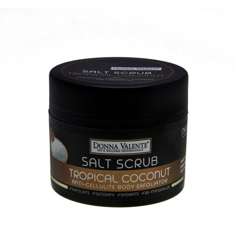 Donna Valente Salt Scrub - Tropical Coconut- 250g-Anti-Cellulite Body Exfoliator