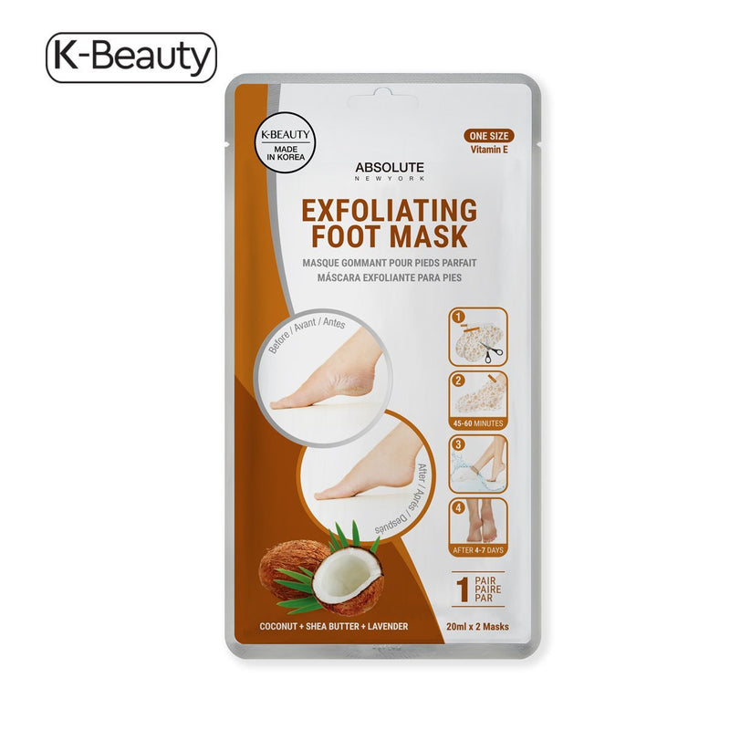 Absolute New York Coconut + Shea Butter + Lavender Exfoliating Foot Mask - 1 Pair, 2.4 oz / 68.04 g