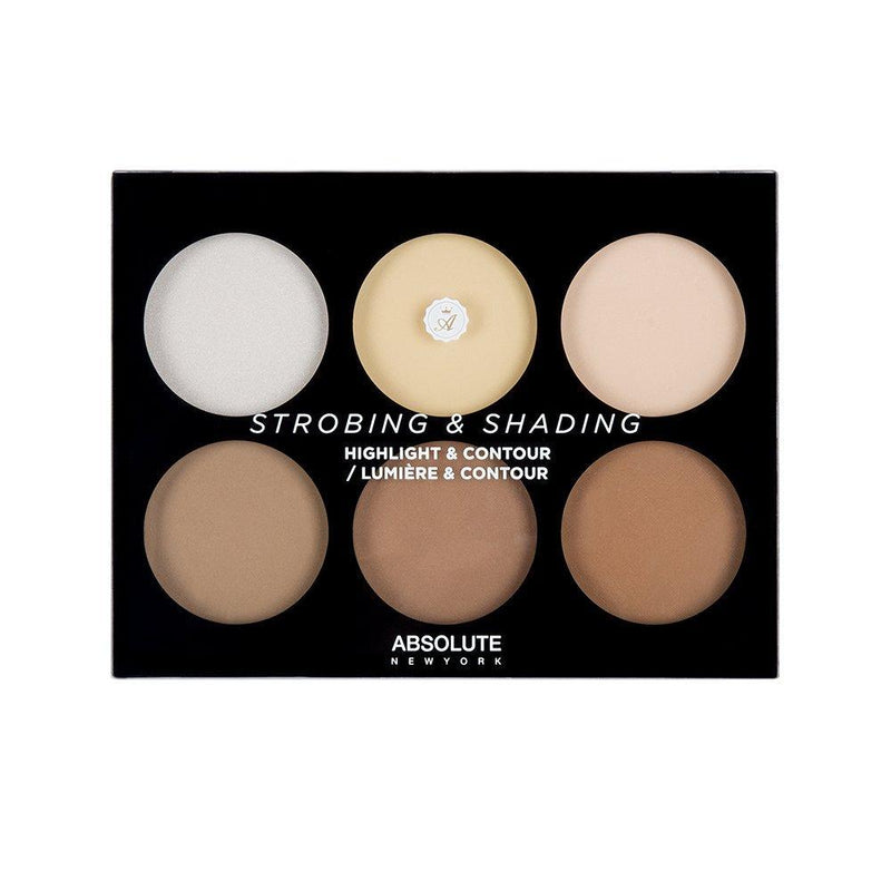 Absolute New York's Strobing and Shading Palette in Light to Medium - a highlight and contour palette featuring 3 strobing powders (1 shimmery highlighter and 2 matte brightening powders), and 3 matte contour powders to find your perfect shade and get the most natural, but defined sculpt.