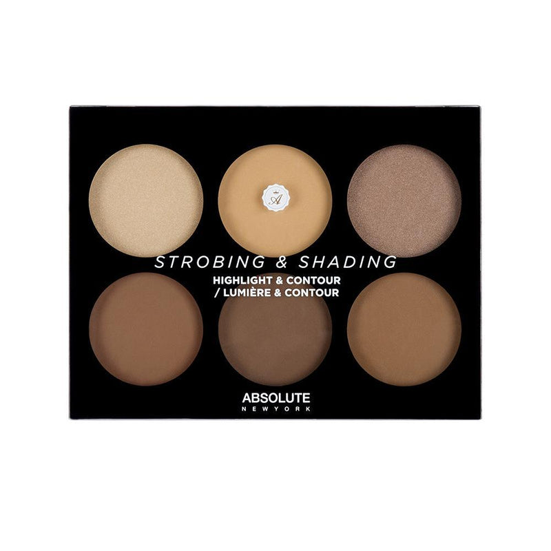 Absolute New York's Strobing and Shading Palette in Tan to Deep - a highlight and contour palette featuring 3 strobing powders (2 shimmery highlighters and 1 matte brightening powder), and 3 matte contour powders to find your perfect shade and get the most natural, but defined sculpt.