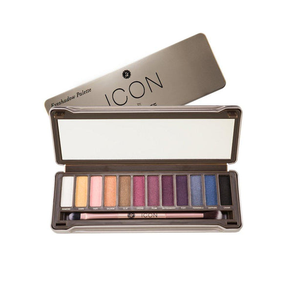 Icon Palette by Absolute New York in Twilight - 12 jewel-toned hues, with light golds and pinks, deep purples, mid-toned blues, a full-size mirror, and a double ended eyeshadow and blending brush, to get summer-ready and enhance your natural eye color.