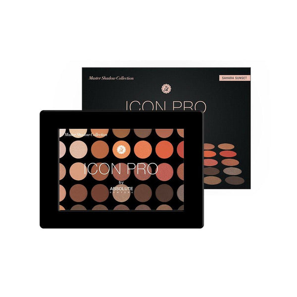 Absolute New York Icon Pro Palette in Sahara Sunset - 35 buttery shades of warm-toned neutrals, reds, and browns, in matte, satin, and metallic finishes.
