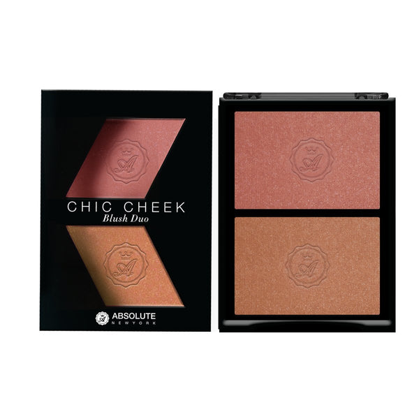 Chic Cheek Powder Blush Duo by Absolute New York (Pink Champagne/Havana Honey) - shimmery nude peach blush with gold micro-pearls and satin-finished soft beige blush.