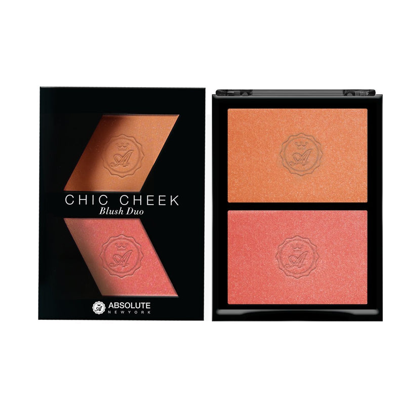 Chic Cheek Powder Blush Duo by Absolute New York (Peach Fuzz/Coral Gold) - shimmery light peach blush with gold micro-pearls and shimmery coral pink blush with gold micro-pearls.
