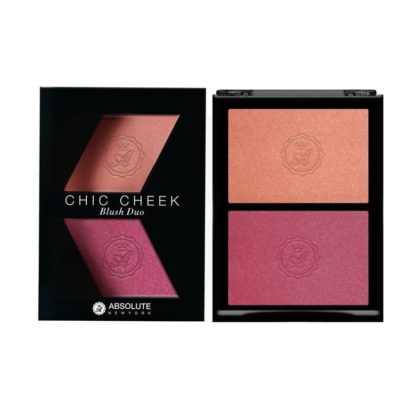 Chic Cheek Powder Blush Duo by Absolute New York (Pinched/Flushed) - satin-finished peachy nude blush and shimmery light fuchsia pink blush with light pink micro-pearls.