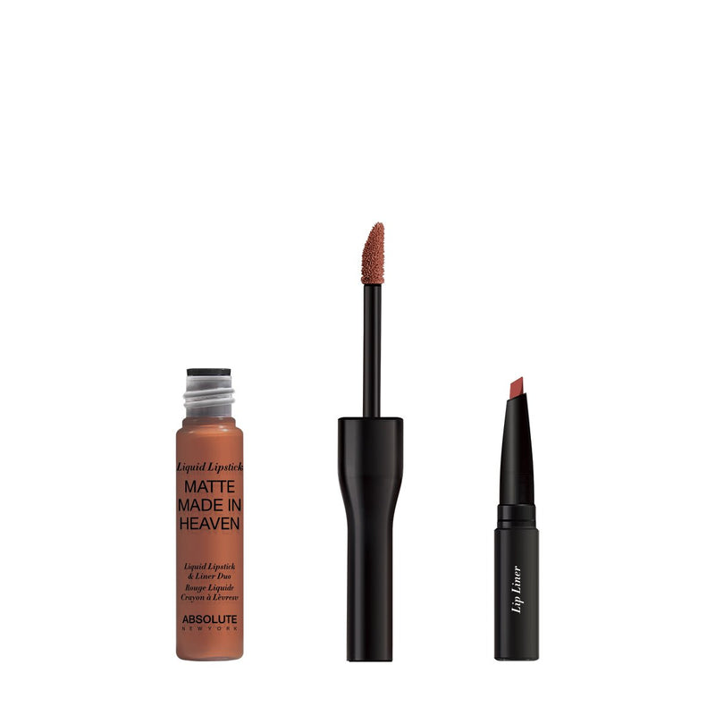 Matte Made in Heaven by ABSOLUTE NEW YORK in Sly (MLIH02) - is a matte liquid lipstick & liner duo in a natural nude brown. Twist off to unlock the liquid lipstick or pull off the top to reveal the lip liner.  0.5 ounces / 0.80 grams