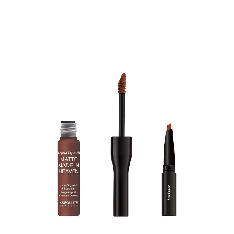 Matte Made in Heaven by ABSOLUTE NEW YORK in Hostile (MLIH05) - is a dark natural nude matte liquid lipstick & liner duo. Twist off to unlock the liquid lipstick or pull off the top to reveal the lip liner.  0.5 ounces / 0.80 grams
