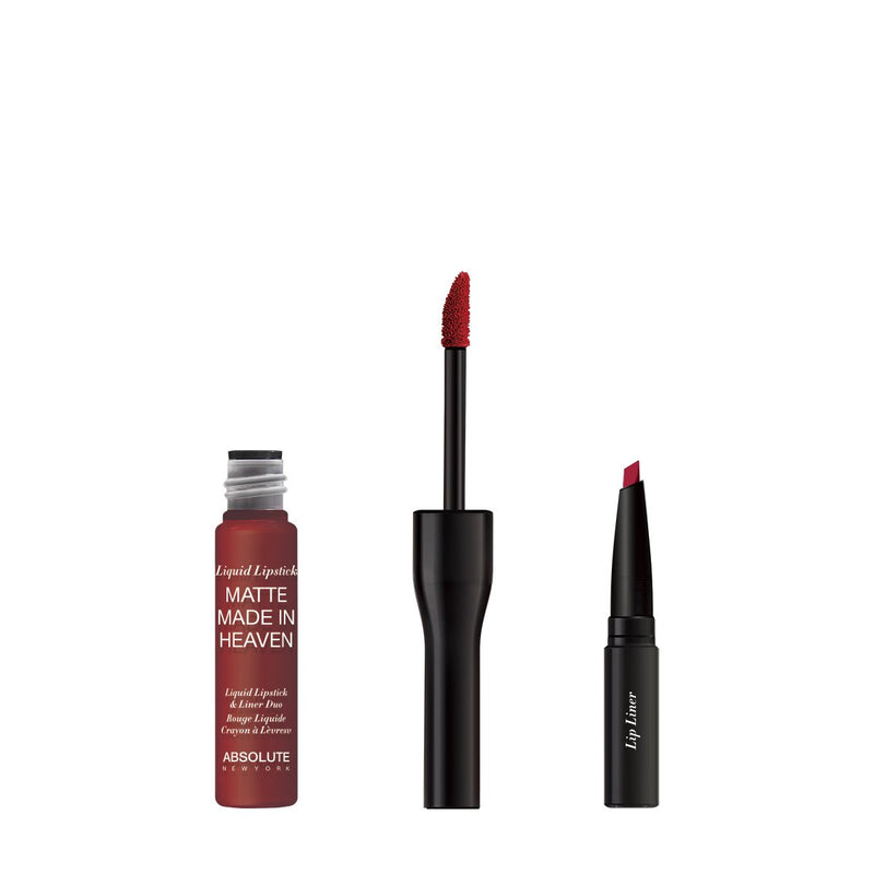Matte Made in Heaven by ABSOLUTE NEW YORK in Bitten (MLIH06) - is a dark blood red matte liquid lipstick & liner duo. Twist off to unlock the liquid lipstick or pull off the top to reveal the lip liner. Bring out your inner vampire. 0.5 ounces / 0.80 grams