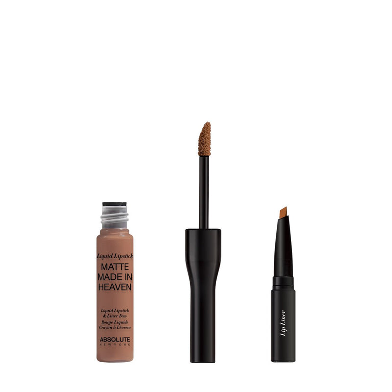 Matte Made in Heaven by ABSOLUTE NEW YORK in Chai (MLIH07) - is a light mocha nude matte liquid lipstick & liner duo. Twist off to unlock the liquid lipstick or pull off the top to reveal the lip liner.  0.5 ounces / 0.80 grams