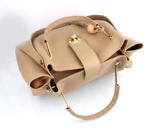 Cream Combo of Handbag with sling bag and golden chain bag