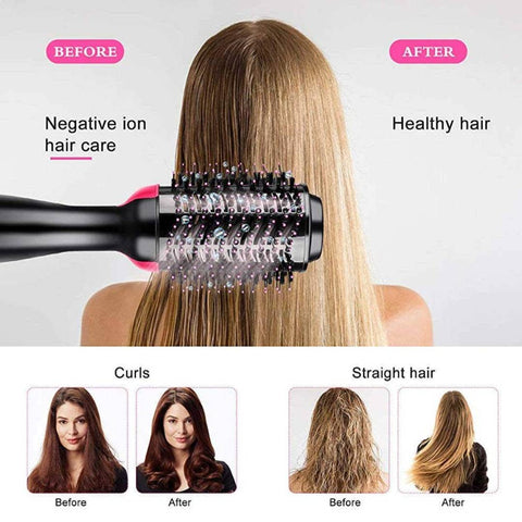 Image of One Step Portable Electric Hair Dryer Brush Styler for Rotating Straightening & Curling