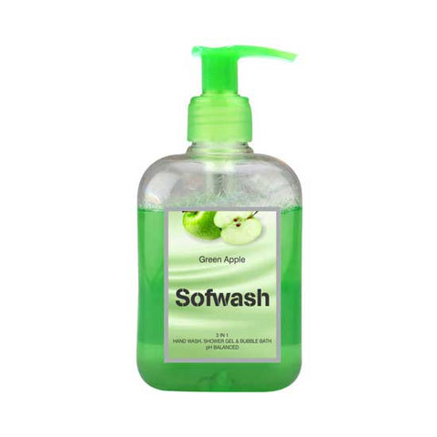 SOFWASH 3 IN 1 HAND WASH, SHOWER GEL & BUBBLE BATH - GREEN APPLE (250 ML)